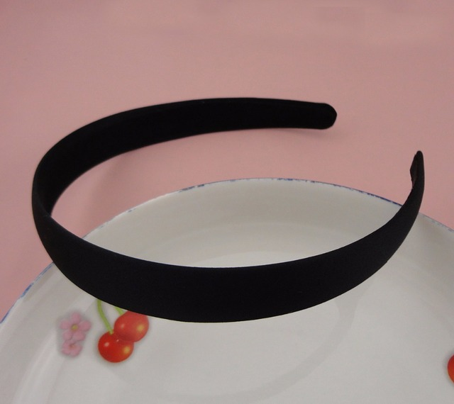 10PCS 2.0cm Black Satin Fabric Covered Plain Plastic Hair Headbands with  Black velvet back free shipping a6c28f9bb92