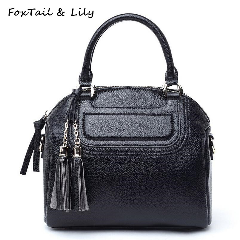 FoxTail & Lily Genuine Leather Tassel Bag Women Shoulder Messenger Bags Soft Leather Handbag High Quality Ladies Crossbody Bags