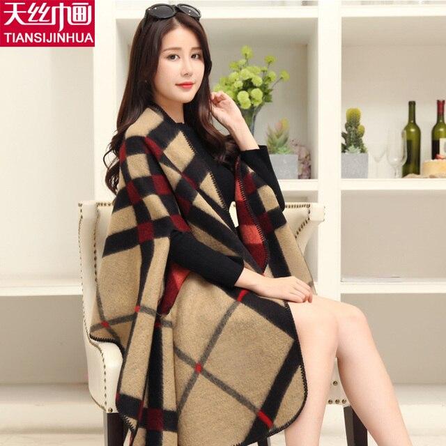 5851c603f6148 Marque de luxe Plaid Cachemire D hiver Femme Poncho Écharpe Femelle  Surdimensionné Couverture Wrap Laine