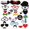 FENGRISE Bachelorette Party 31Pcs Photo Booth Prop Mask Wedding  Decoration Glasses Mustache on Birthday Supplies Fun Favor Kids
