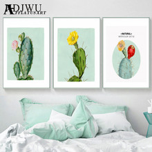 Art Home Decor Canvas Painting  Natural Watercolor Cactus Printing Wall Poster for Living Room Bedroom AJ0019