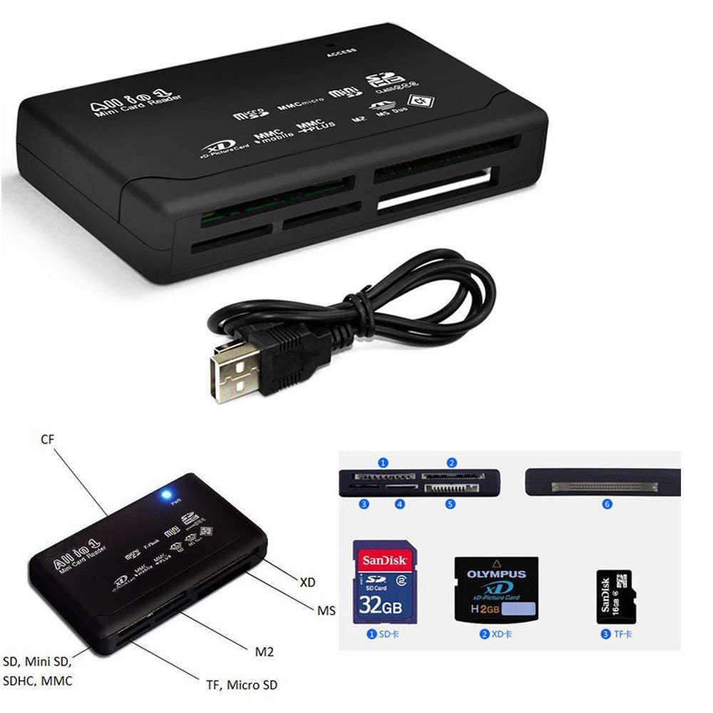 عالية السرعة قارئ بطاقات مايكرو محول SDHC SD XD MMC MS CF TF مايكرو SD M2 قارئ بطاقات الأسود عالية الجودة