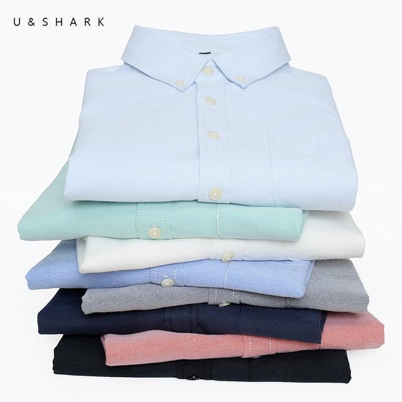 U&SHARK 2017 Autumn New Casual Shirt Men Long Sleeve Cotton Oxford Office Shirt Male Formal Business Mens Dress Shirt Social
