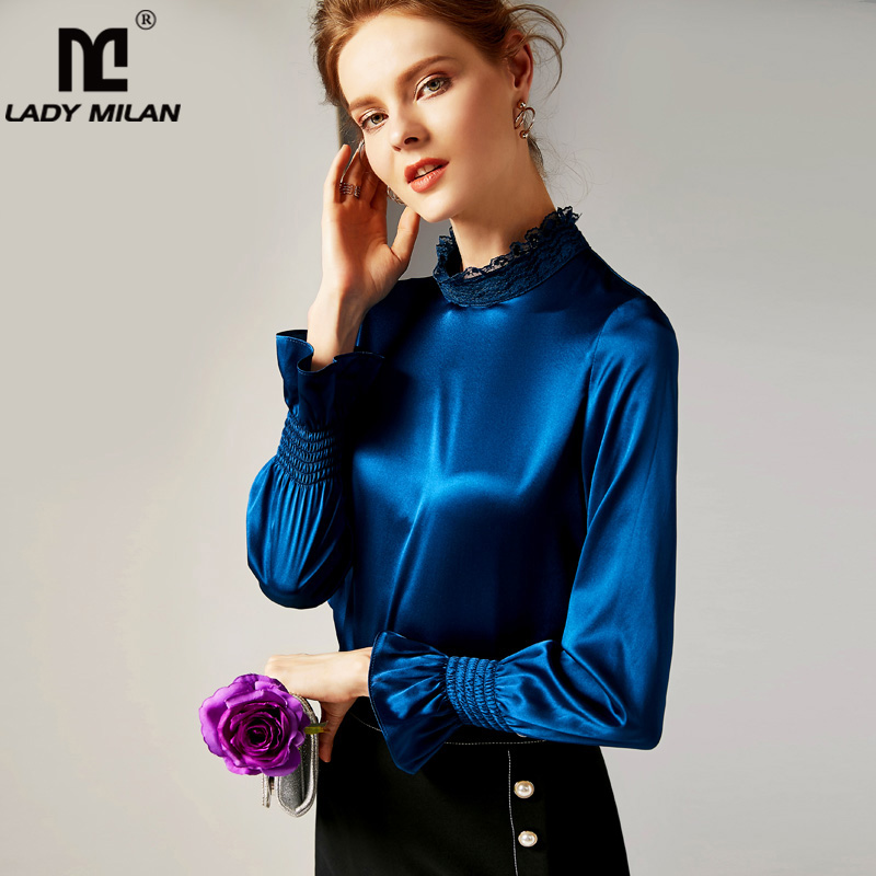 2019 100% Pure Silk Women's Runway Shirts O Neck Long Sleeves Ruffles Elegant High Quality Shirts Blouses