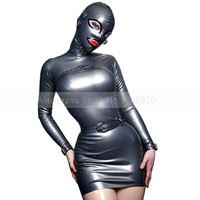 Sexy Latex Dress Attached to Hood Rubber Latex Women Tights Clothing Custom Made Plug Size S LD060