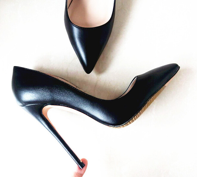Marque chaussures pour femme talons hauts chaussures pour femmes Pompes chaussures à talons aiguilles Pour Les Femmes Noir talons hauts 12 CM PU En Cuir chaussures de mariage B-0051 - 2