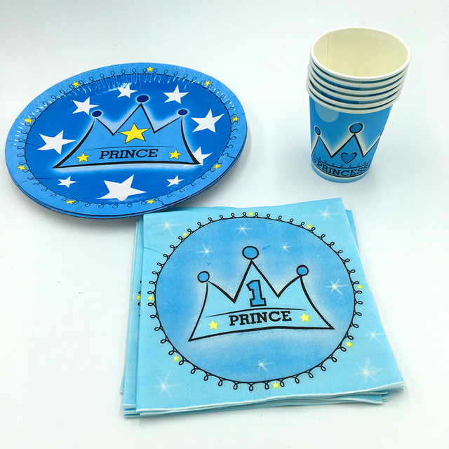 60pcs Lot Blue Crown Plates Cups Kids Birthday Wedding Party Supplies Boys Favor Gl