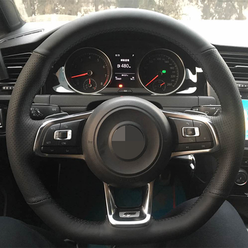 Black Leather Car Steering Wheel Cover For Volkswagen Golf