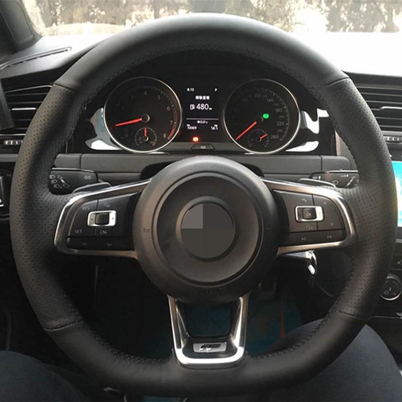 black leather car steering wheel cover for volkswagen golf 7 gti golf r mk7 vw polo gti scirocco. Black Bedroom Furniture Sets. Home Design Ideas