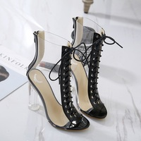 2018 new spring and autumn with a transparent crystal heel Rome zipper high heel Europe and the United States shoes