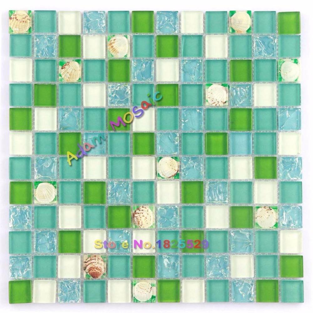 Green Wall Tile Kitchen Backsplash Ocean Blue Crackle Glass Tiles ...
