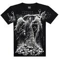 Novo 2015 Crânio Criativo 3D Impresso T Camisa Cinza One-Neck 100% algodão Marca Camiseta Tops T Camisa de Heavy Metal Hip Hop Casuais camisa