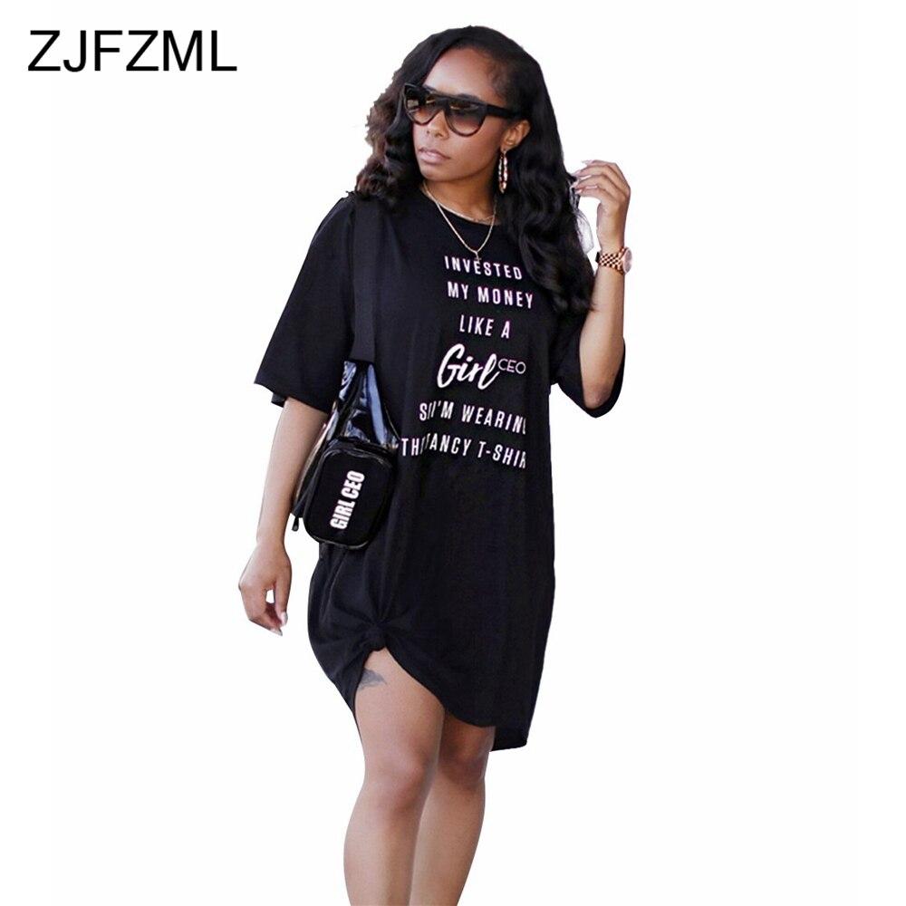 23828f9090d1b ZJFZML Women Casual Loose Dress One Oblique Shoulder Letter Print Summer T  Shirt Dress Vestidos Sexy Half Sleeve Party Dresses