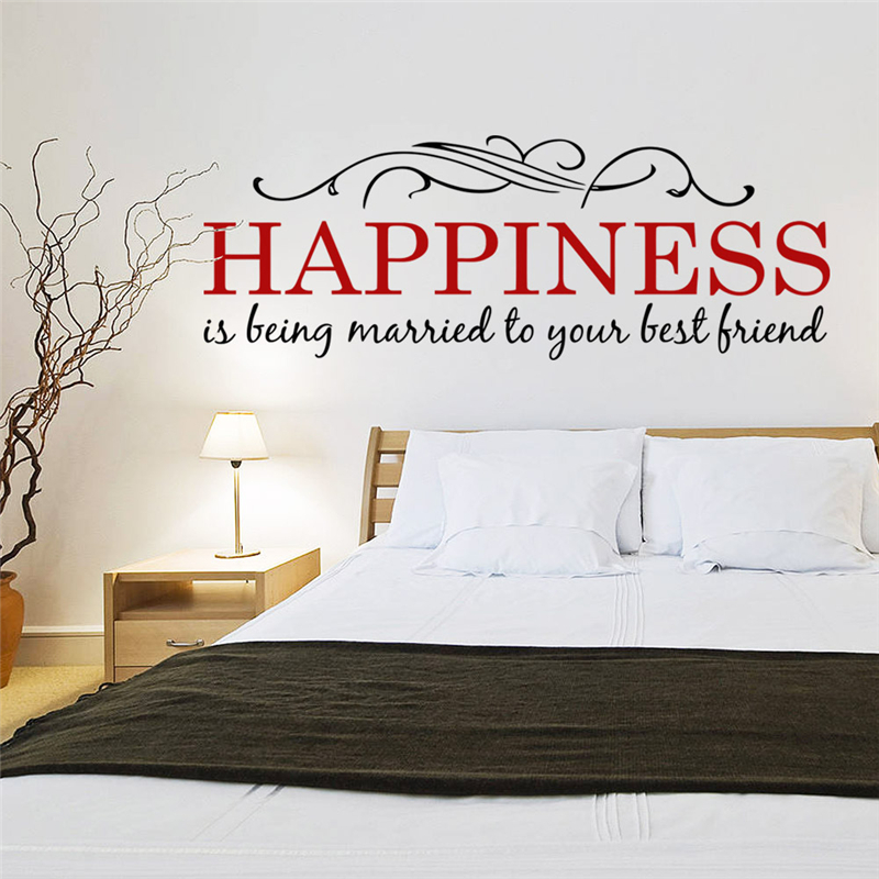 happiness is being married to your best friend quotes wall stickers for bedroom home decoration removable art decals diy vinyl image