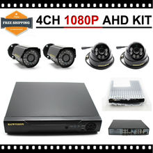 Outdoor Indoor 4CH DVR AHD with 1080P 2MP AHD Cam CCTV IR Security Camera System DIY Surveillance Kit