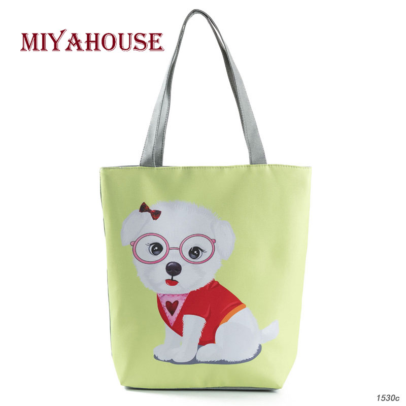 Cute Dogs Design Shoulder Bags Women Canvas Tote Handbags For Female Daily Use Single Shopping Bag Summer Beach Bag
