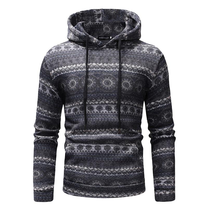 SportsX Men Floral Printed Ethnic Style Fleece Vintage Jacket Sweatshirts