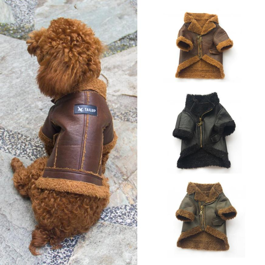 Pet Jacket 2017 New Dog Leather Zipper Jacket Coat Fashion Autumn Winter Warmth Soft Pet Clothing S/M/L/XL Drop Shipping 17sep13