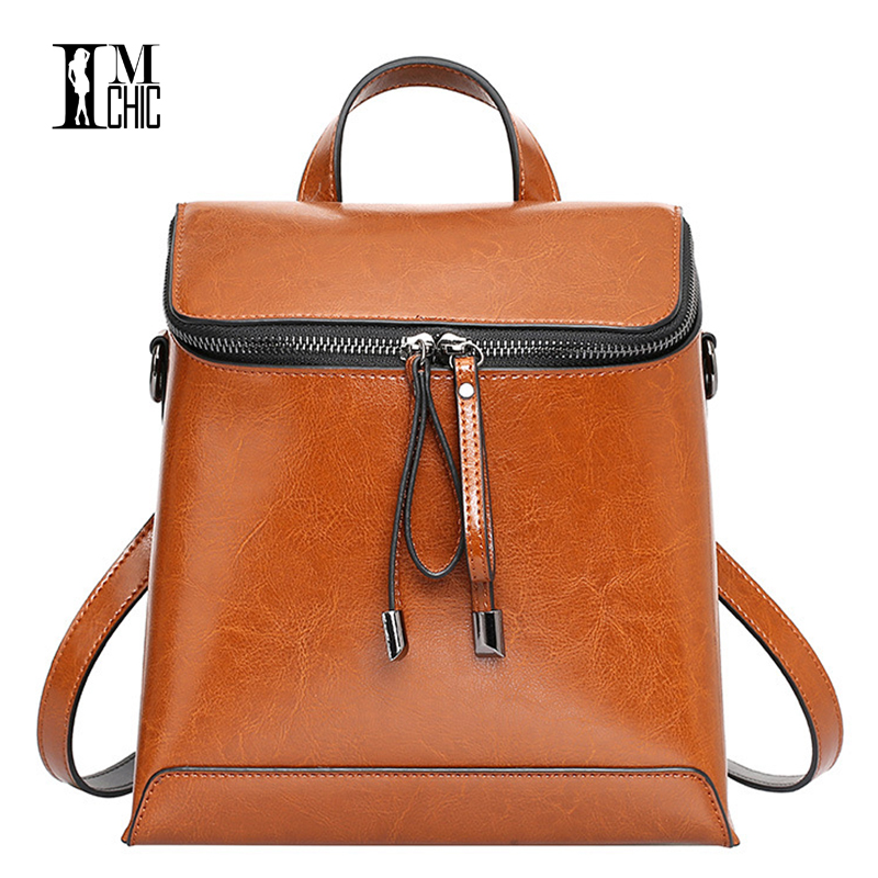 Vintage Cow Leather Backpack Female Oil Wax Mini Backpacks For Adolescent Girls Small Bagpack Women School Bag Valentine Gift adolescent