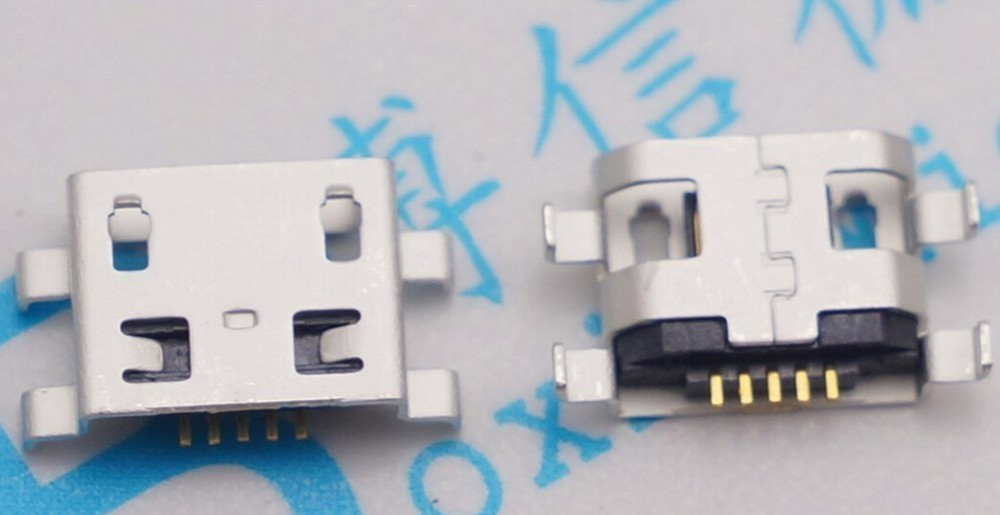 100pcs Micro USB 5pin 08mm no side B type Flat mouth without curling side Female Connector For Mobile Phone Mini USB Jack