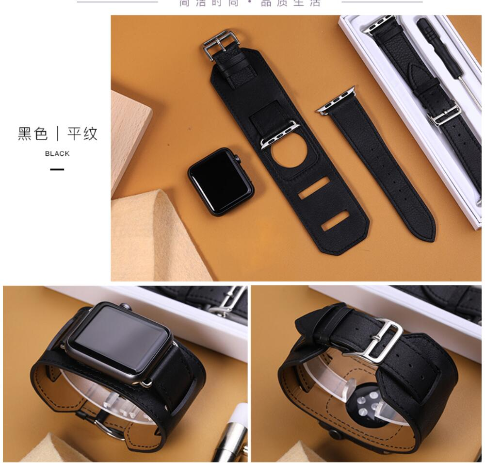 Series 4/3/2/1 Genuine Leather watchbands Cuff Bracelet Leather Wrist Band strap For Apple Watch 38mm 42mm 40mm 44mmSeries 4/3/2/1 Genuine Leather watchbands Cuff Bracelet Leather Wrist Band strap For Apple Watch 38mm 42mm 40mm 44mm