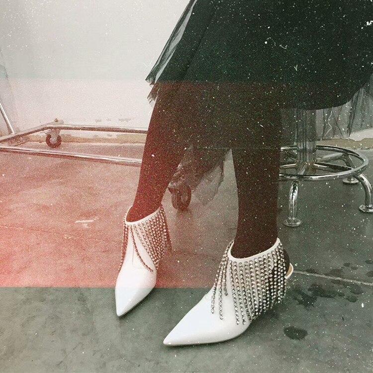 Pour Sandales Show Spécial Femmes À Show Chaussures De Cristal Chaussons En Pointu Main As La Bout as Haute Bordées Blanc Noir Luxe Cuir Talons Verni SpS0qWwH