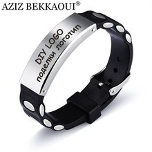 AZIZ BEKKAOUI Customize Logo Silicone Bracelets For Men Diy Engrave Name Bangle Wide Stainless Steel Bangles Drop shipping(China)