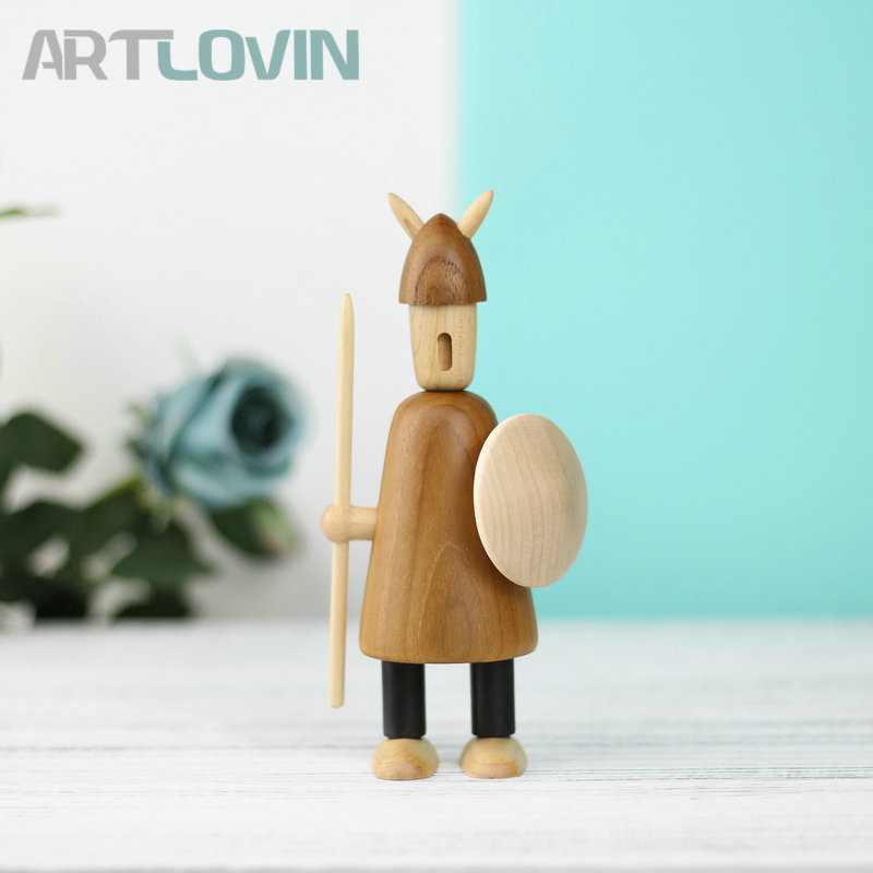 New Arrival Nordic Viking Miniature Wooden Puppet Creative Figurines Home Decor Statue Beech Wooden Ornament Kids New Year Gifts