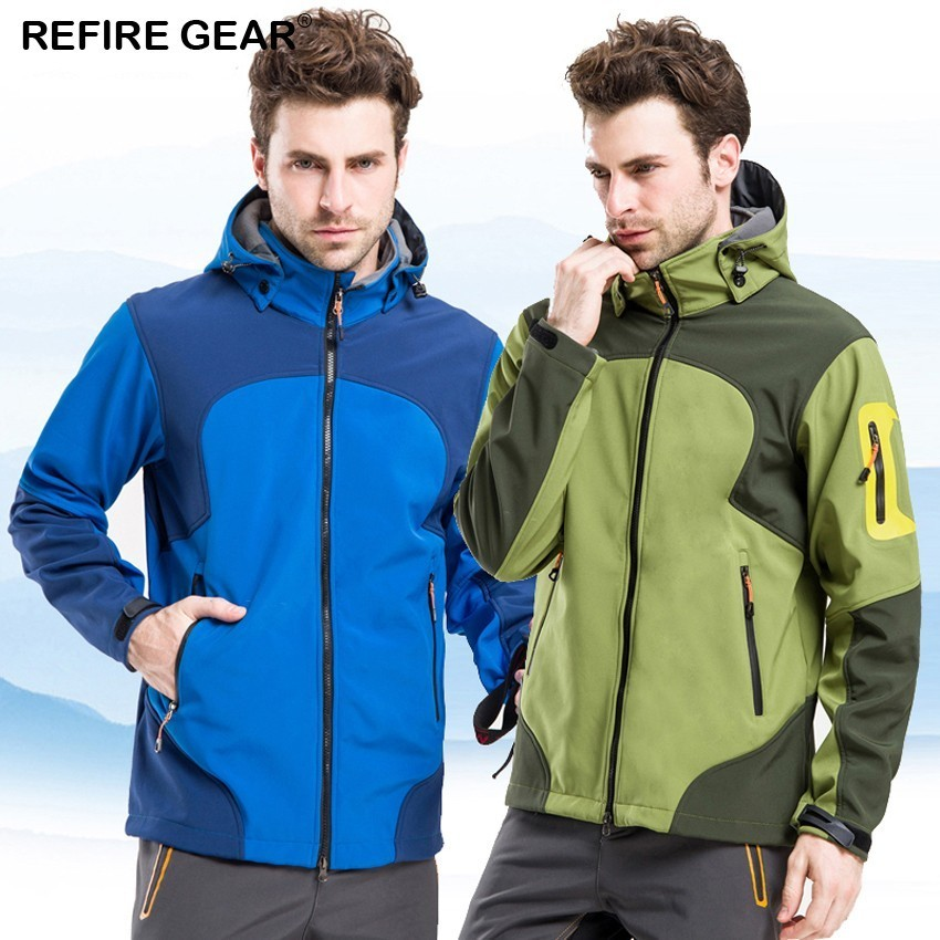 Refire Gear Winter Outdoor Sports Jacket Men Water Repellent Thermal Jackets Camping Hiking Inside Fleece Brand Male Clothing