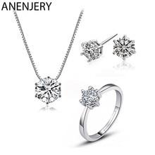 ANENJERY – ensemble collier + boucles d'oreilles + bague en Zircon pour femmes, bijoux de mariage, classiques et éblouissants, en argent Sterling 925