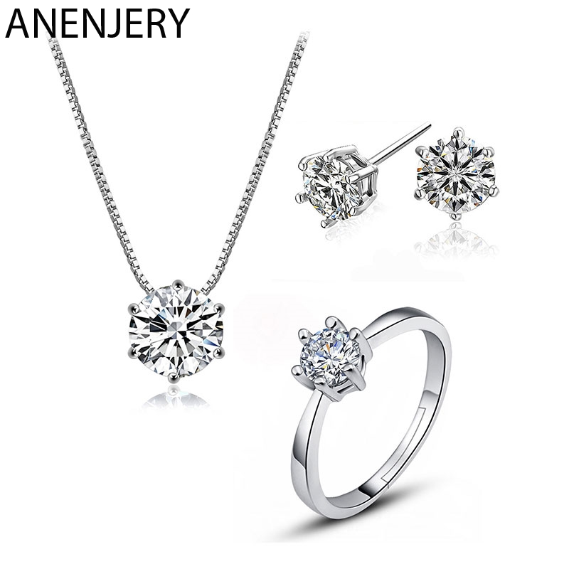 ANENJERY Classic 925 Sterling Silver Dazzling 6 Claws Zircon Necklace+Earrings+Ring Jewelry Sets For Women Wedding Jewelry