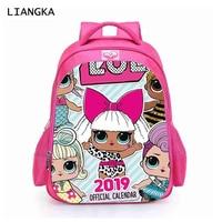 LIANGKA Toddler Kids LOL Dolls Backpack LOL Dolls Baby Printed Orthopedic Schoolbag Cute Cartoon Bookbag Mochila