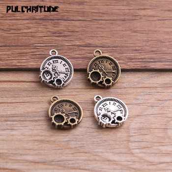 12 sztuk 14*16mm dwa kolor Vintage Metal stop cynkowy Steampunk zegar Charms dopasowana biżuteria zawieszki Charms zadatki
