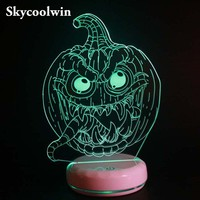 Skycoolwin Creative Halloween Pumpkin Night Light Modeling Peculiar 3D LED Decoration Lamp Acrylic Atmosphere Touch Lamp