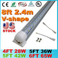 Stock In US - SMD 2835 T8 V shaped Integrated LED tube light 4ft=28W 5ft=36W 6ft=42W 8ft=65W 85-265V led tubes warranty 3 years