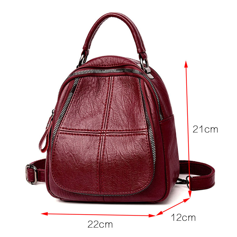 Women Leather Backpacks Vintage Female Shoulder Bag Sac A Dos Travel Ladies Bagpack Mochilas School Bags For Girls Preppy