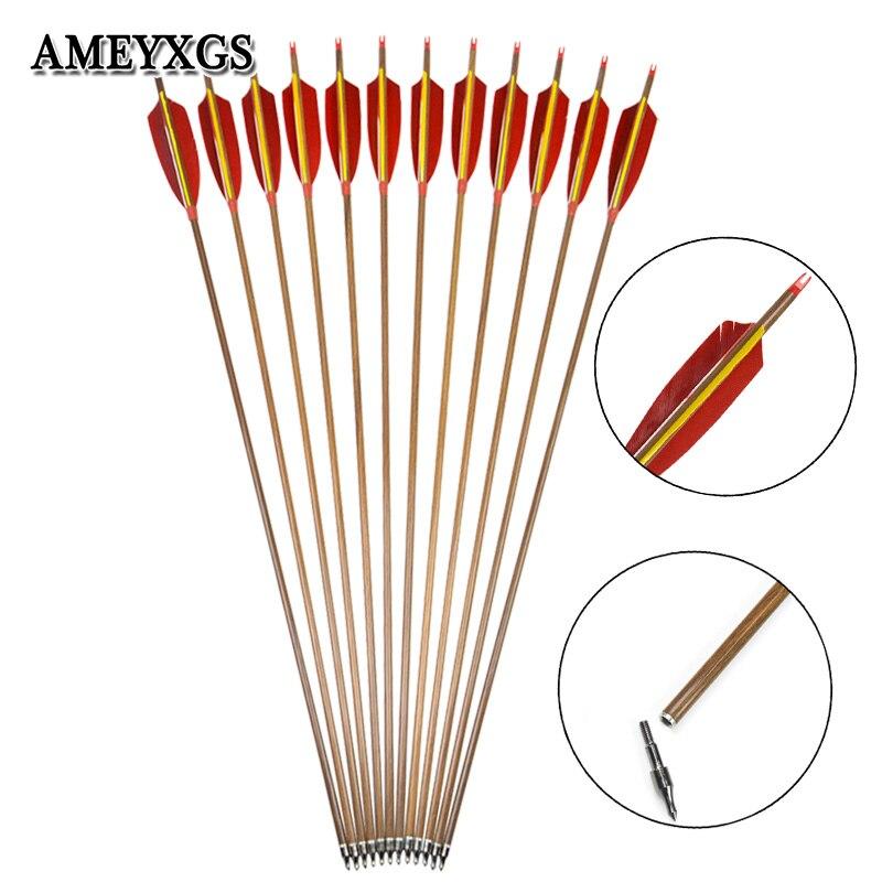 6 pièces/12 pièces tir à l'arc colonne vertébrale 340 carbone flèche 5 pouces plume naturelle 100grain flèche tête pour tir à l'arc équipement