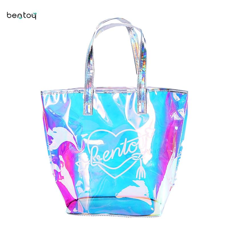 Bentoy New Fashion Casual Girl Large Capacity Tote Hologram Laser Shoulder Bag Shopping Bag Summer Beach Ladies Bags Women  Сумка