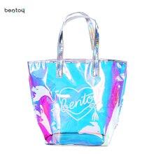 Bentoy Fashion Women Girl Large Capacity PVC Hologram Laser Shoulder Shopping Handbag Ladies Clutch