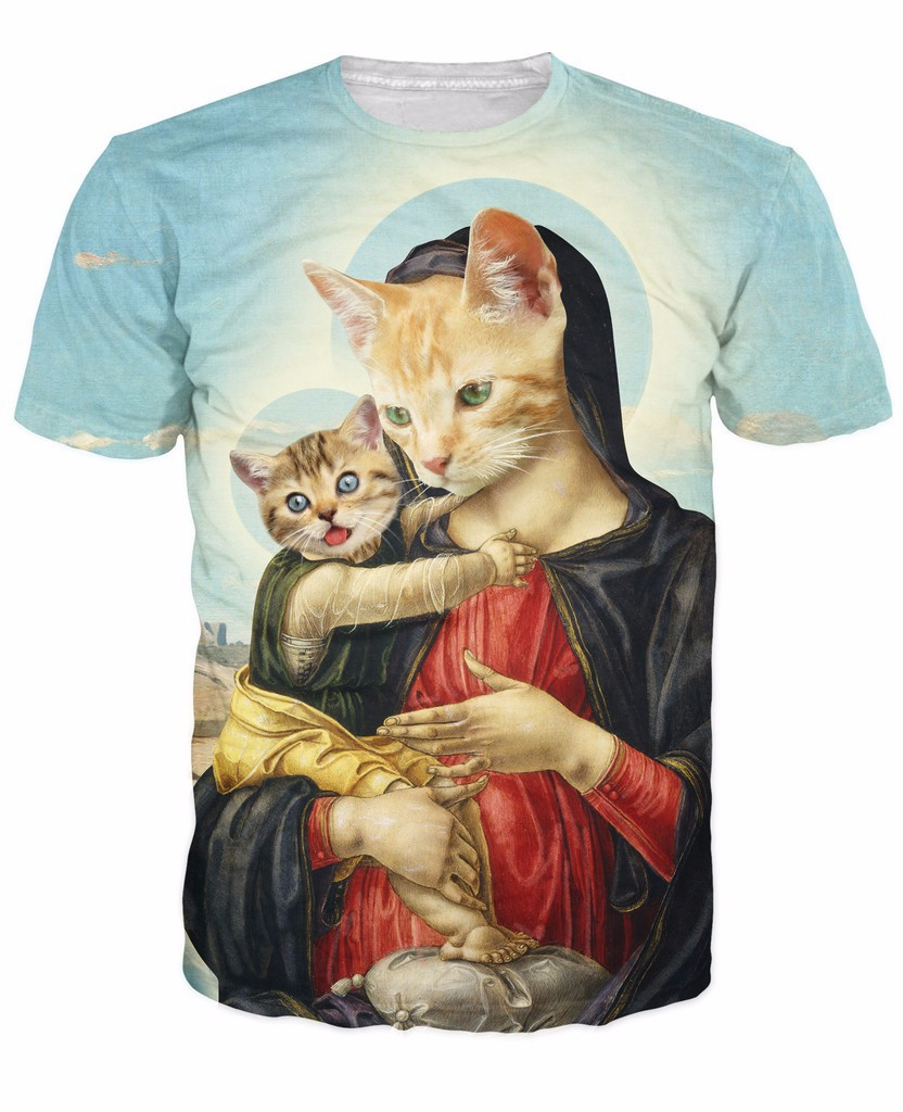 Alisister 3d Holy Mother and Kitten   T  -  Shirt   Renaissance period art and cats vibrant tees basic funny print   t     shirt   for men women