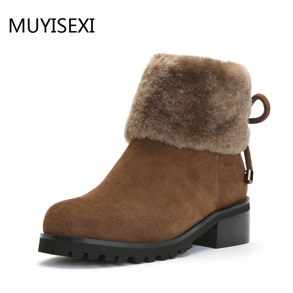 Winter Warm Wool Fur Boots Full Genuine Leather Boots Women Round Toe Low Thick Heel Shoes Brown Black KL05 MUYISEXI