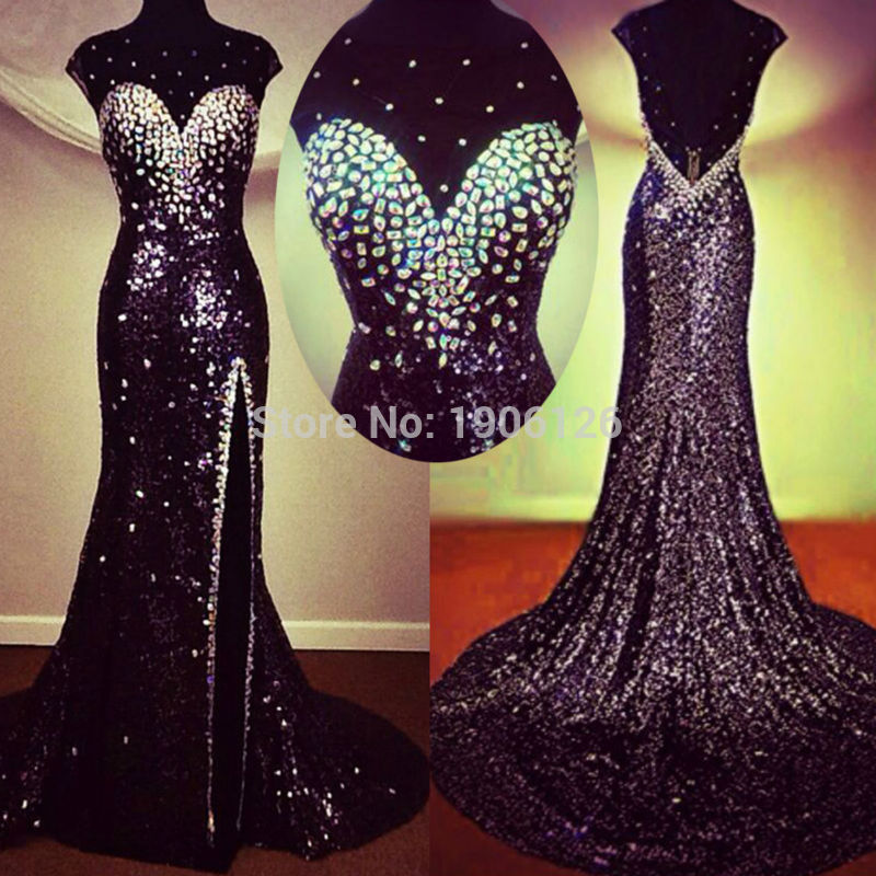 Sparkly Black Sequin Prom Dress With Crystals Long Evening
