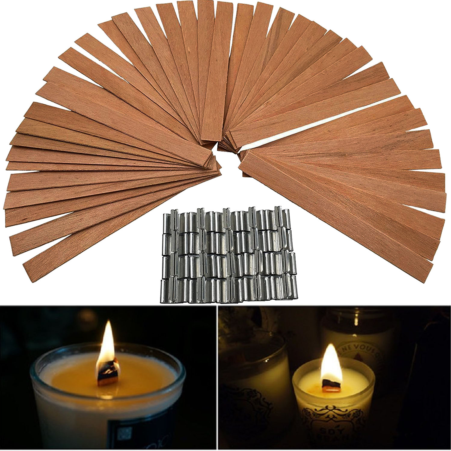 Wooden Candle Wicks Diy: 50 PCS 12.5 X 150mm Wood Candle Wicks With Sustainer Tab
