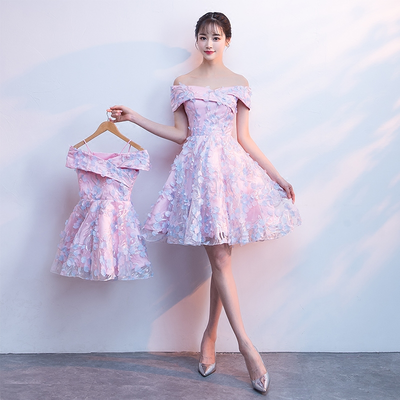 Family Look Mother Daughter Wedding Elegant Dress Mommy And Me Clothes Off  Shoulder Pink Short Bridesmaid Birthday Party Dress