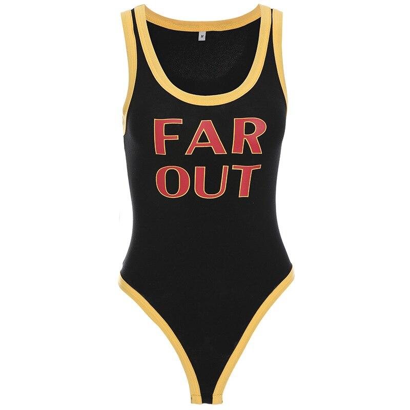Focal20 Women Letter Print Tank Bodysuits Summer Black Rompers Sleeveless Womens Jumpsuit Sexy Streetwear Femme Bodysuits