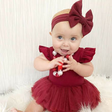 Newborn Infant Baby Girls Clothes Ruffle Bodysuits Lace Tutu Dress Headband Outfit Lovely Set