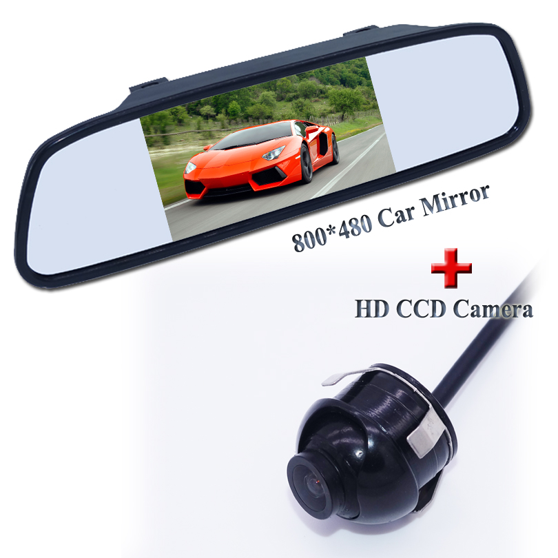 5 TFT LCD Color Car Rearview Mirror Monitor + CCD HD Rear / Front View Reversing Backup Camera 360 Degrees Rotatable