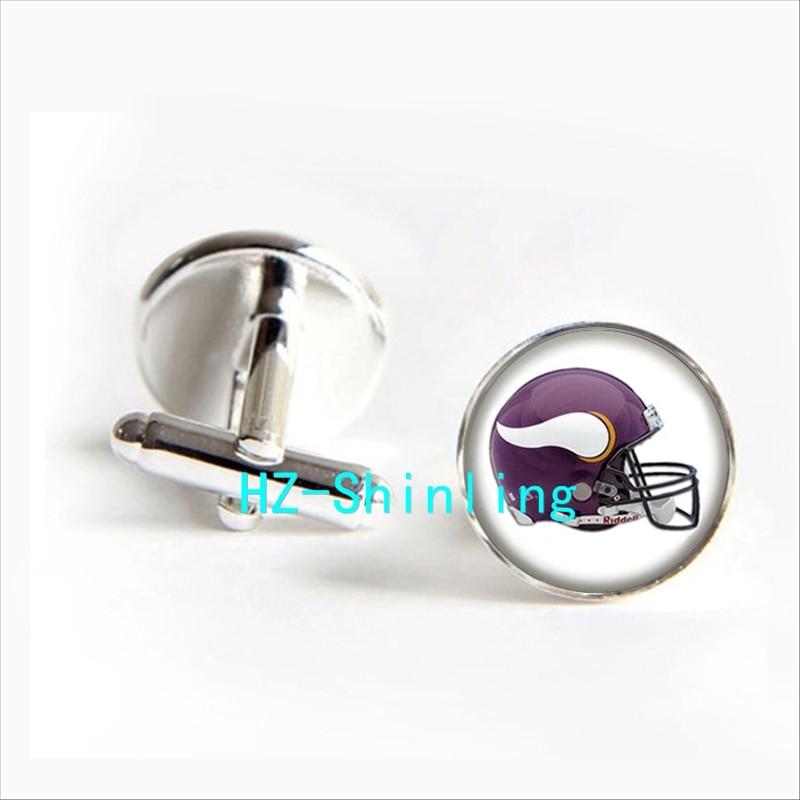 2017 wholesale Minnesota Vikings Team Helmet Cufflinks Football Team Helmet Cuff Silver Glass Cufflinks