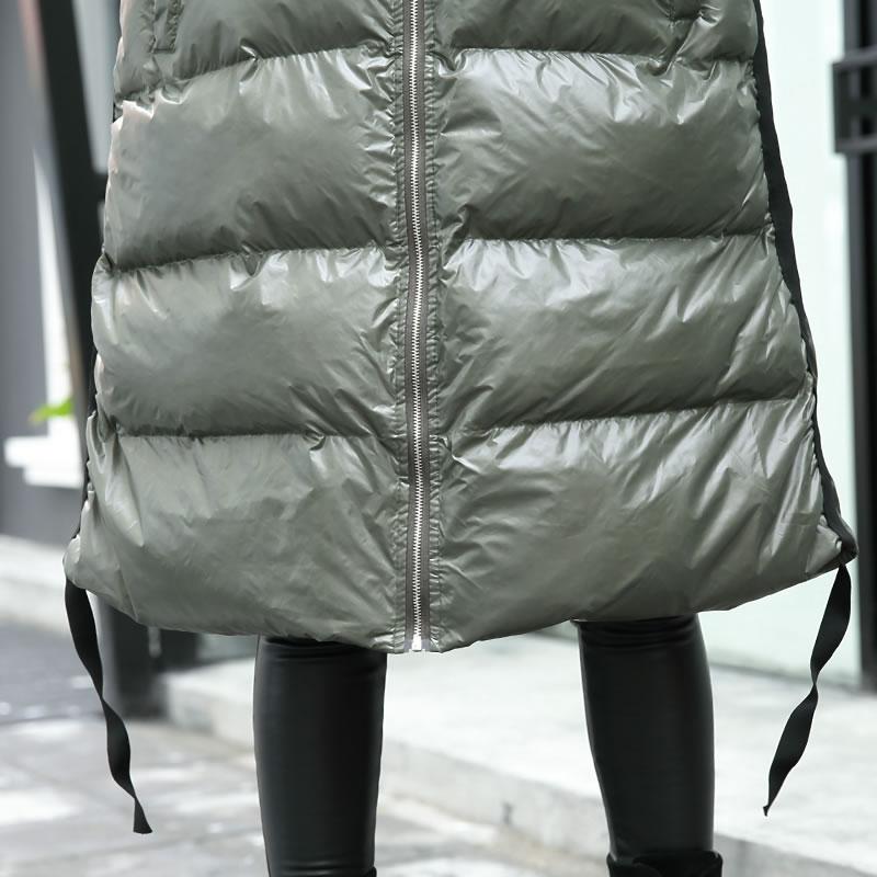 À Solide Nouveau Épais Lâche A ligne 2018 Casual Mode Col xitao Zll2443 Capuche Zll2443 army Corée Hiver Green Black Manches De Femmes Pleine Couleur Parka TWX0q