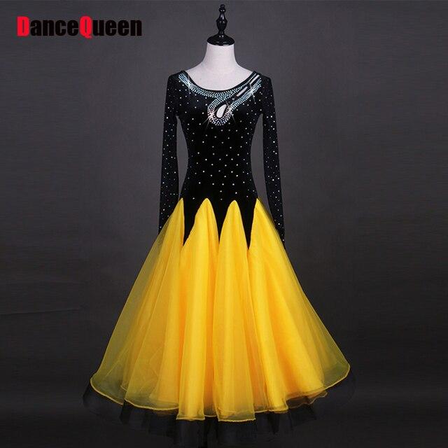 51f686764ef7 Cheap Latin Dance Dresses For Ladies Yellow Black Lace Skirts Newest Woman  Professional Ballroom Compete Flamenco Garment Q11154